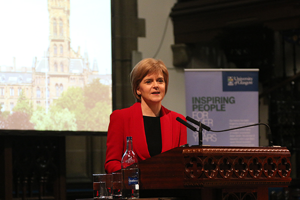 Nicola Sturgeon at Glasgow University